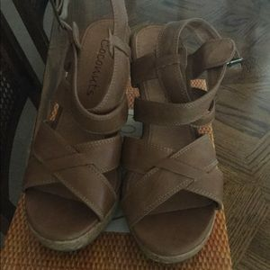 Tan wedge sandals size 7